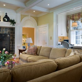 Traditional Family Room with Office Nook by Diane Burgoyne Interiors