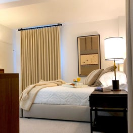 Transitional bedroom with Asian accents