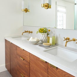 Master bathroom with wood cabinetry and brass hardware
