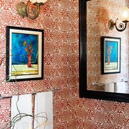 Eastlake Powder Room Packs a Little Pomegranate Wallpaper Punch