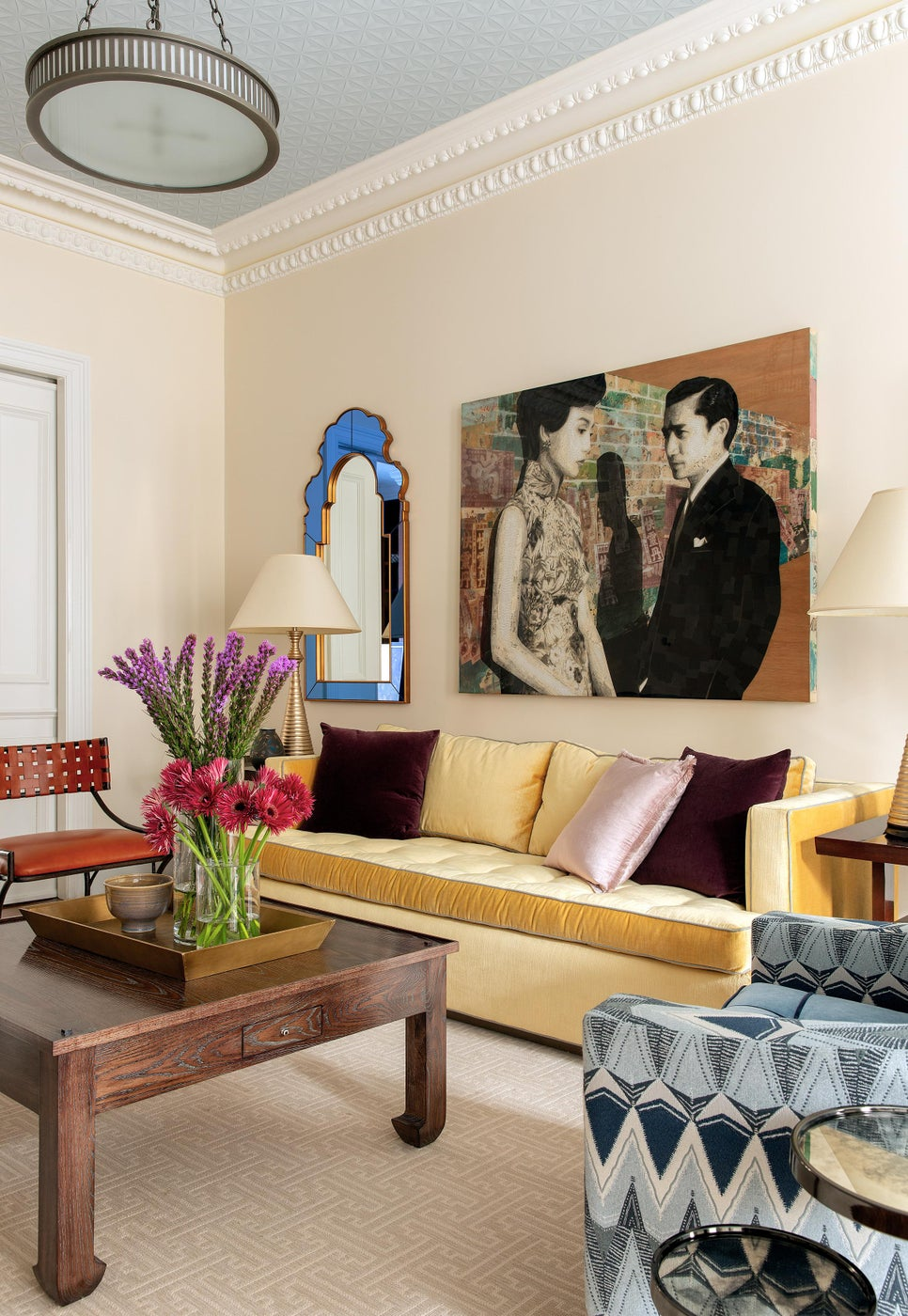 Warm living room with contemporary art & Moroccan accessory details