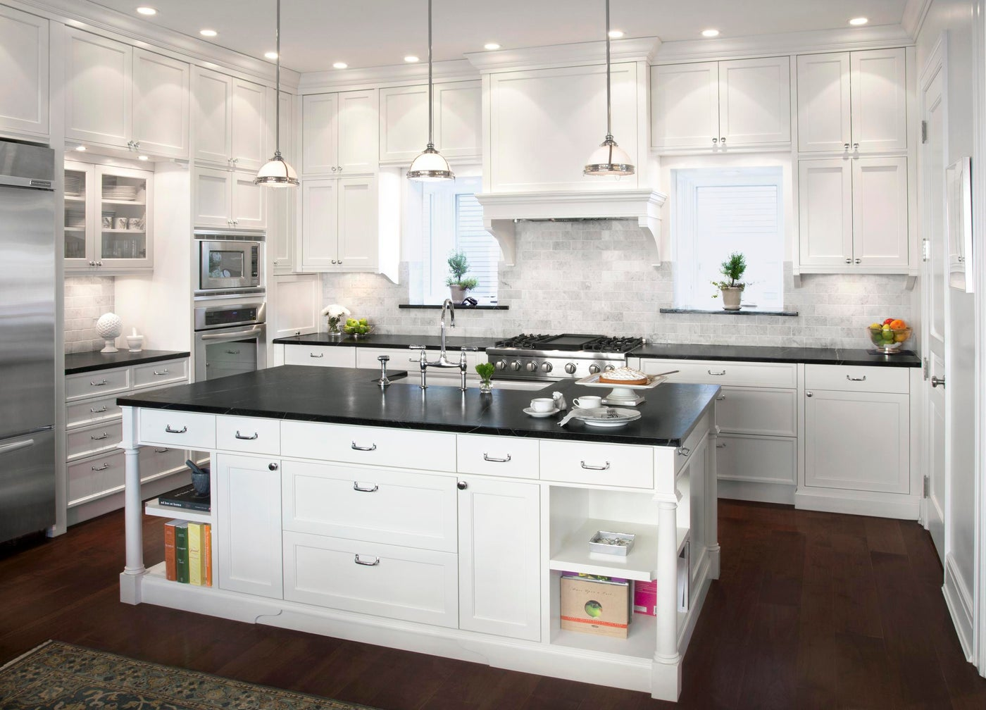 Traditional English Kitchen with Soapstone Counters and Marble Backsplash