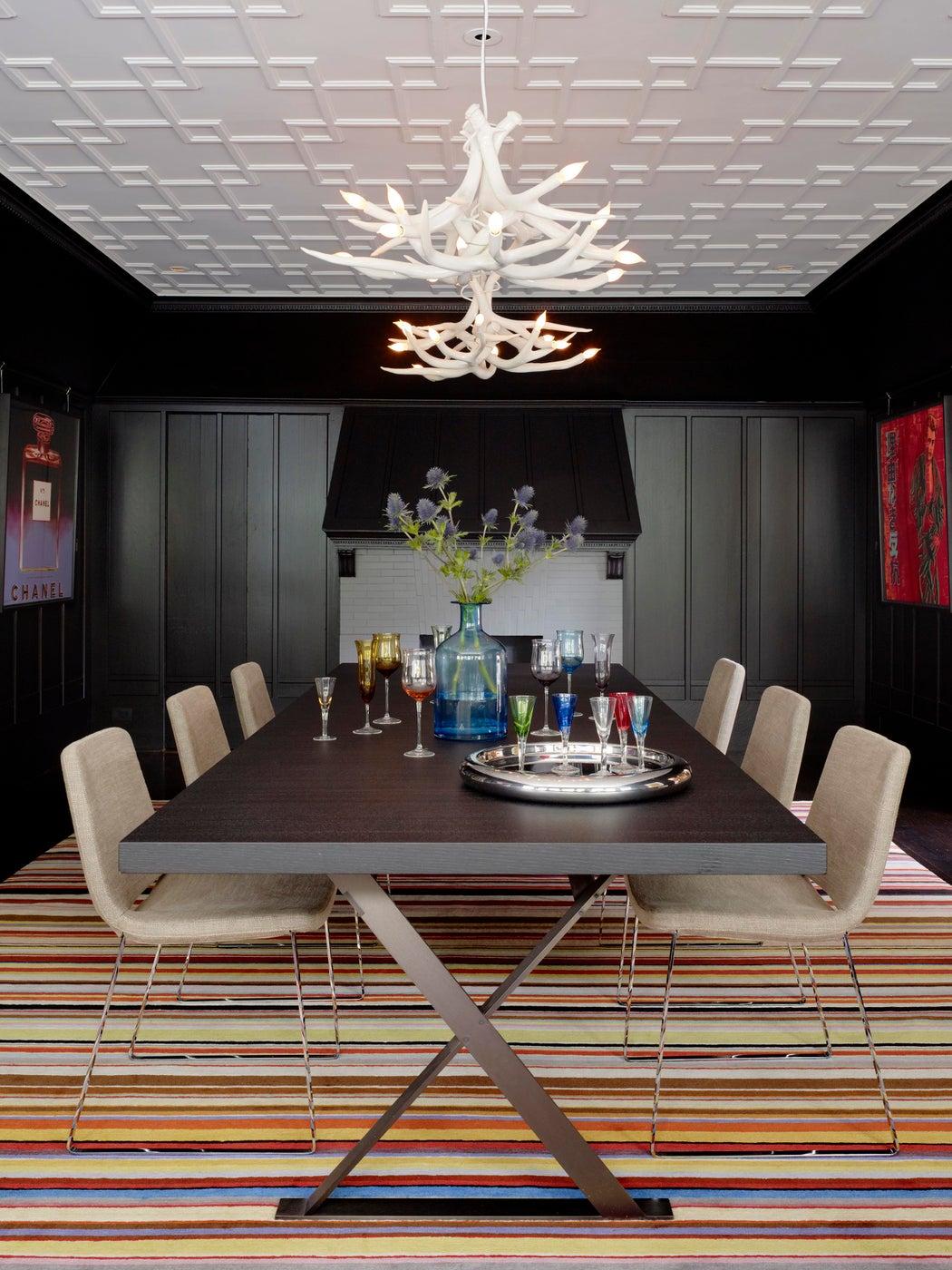 Dinning Room with original ebony wall finish