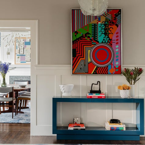 Colorful Foyer with Artwork