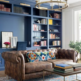 The Study millwork is bathed in a nautical blue