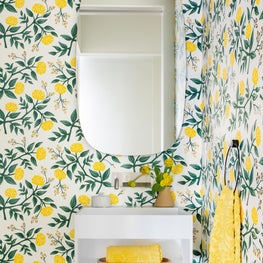 Powder Room with Yellow Patterned Floral Wallpaper
