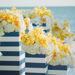 Blue & White Striped Flower Boxes at Ocean Reef Club Wedding