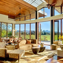 Napa cabin Great Room with panoramic vineyard views