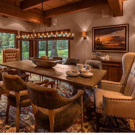 Rustic mountain dining room table and chairs