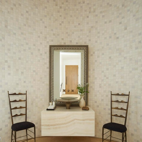 Powder Room with hand-carved Moroccan tiles