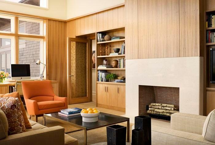 Modern Hamptons Beach Family Room, limestone fireplace, comfortable seating.