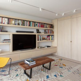 Custom Built-in Library in White Oak with a light Grey Wash
