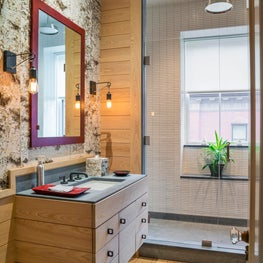 Contemporary bathroom with textured birch bark wallcovering
