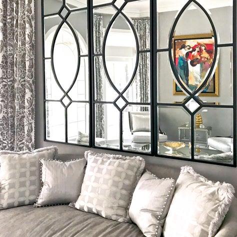 Palm Harbor Residence, Living Room, Sofa, Pillows, Mirror Reflection