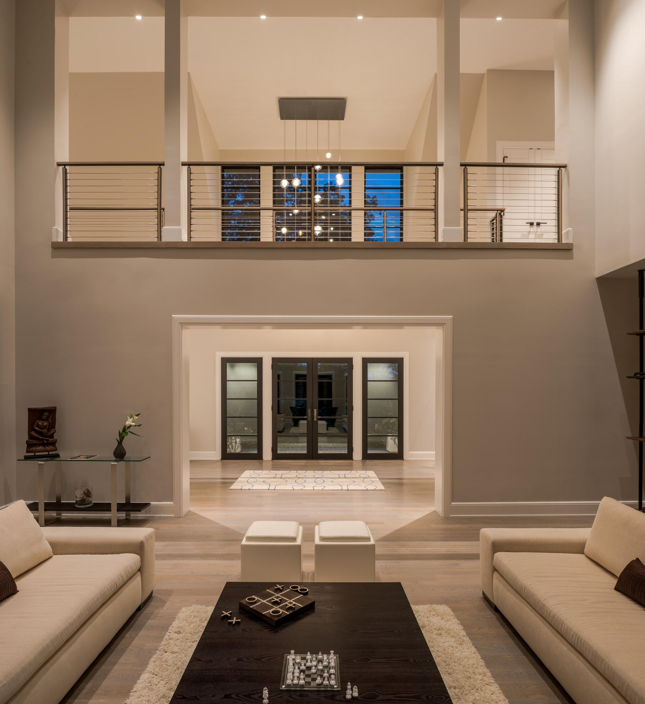 Transitional Residence Great Room with balcony in Pennsylvania