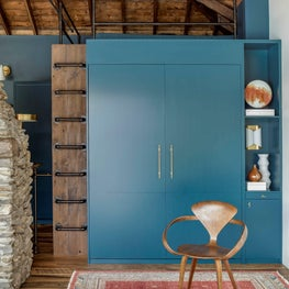 HAGUE BLUE BUILT IN, MURPHY BED, SLEEPING LOFT, RECLAIMED WOOD LADDER & FLOOR