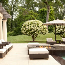 Habersham-pool, fire pit and cabana
