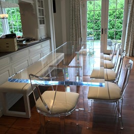 Acrylic Dining Table in transitional dining room