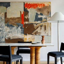 Mies : Abstract Art, Vintage Dining Table, Mid Century Floor Lamp, Black Dining Chairs, Rattan, Track Lighting