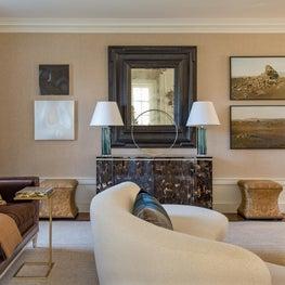 Brookline Living Room with Vladimir Kagan Sofa, Horn Chest and Flemish Mirror