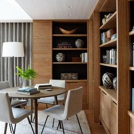 Minimalist Contemporary Scandinavian Style Custom Wood Paneled Library