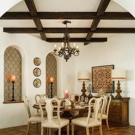 Spanish Style Dining Room with Dark Wood Beams