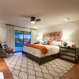 Spanish Style Bedroom with Vintage Suzani Headboard