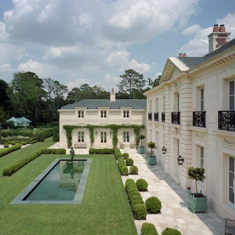 Rear Facade and Gardens, Inverness Residence, Houston, Texas