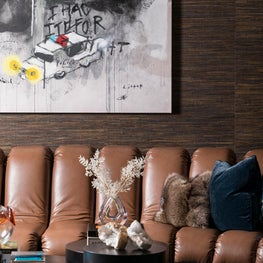 Custom leather sofa for penthouse living room