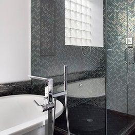Iridescent Oceanside Glasstile Shower & Large Soaking Tub