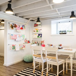 Kids art studio and mudroom craft area
