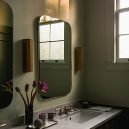 Hillsborough Craftsman Estate, Guest Bath with Rich Brilliant Willing sconces