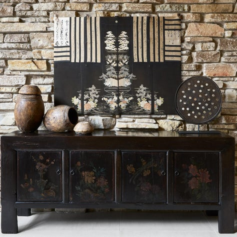 Treehouse Above The Lake | Antique Chinese Buffet with Found Objects and Art