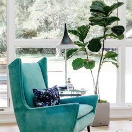 Turquoise Velvet MCM Statement Chair