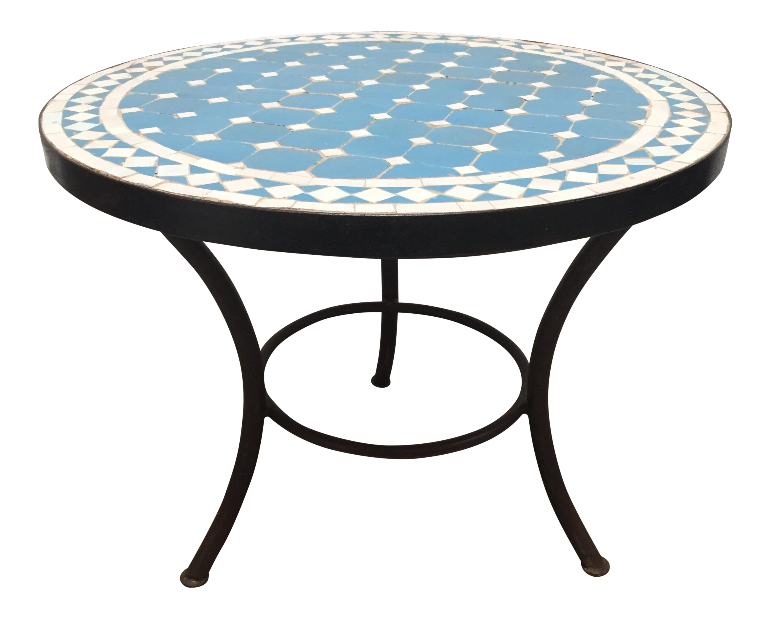 Superb Moroccan Mosaic Outdoor Blue Tile Side Table On Low Iron Base