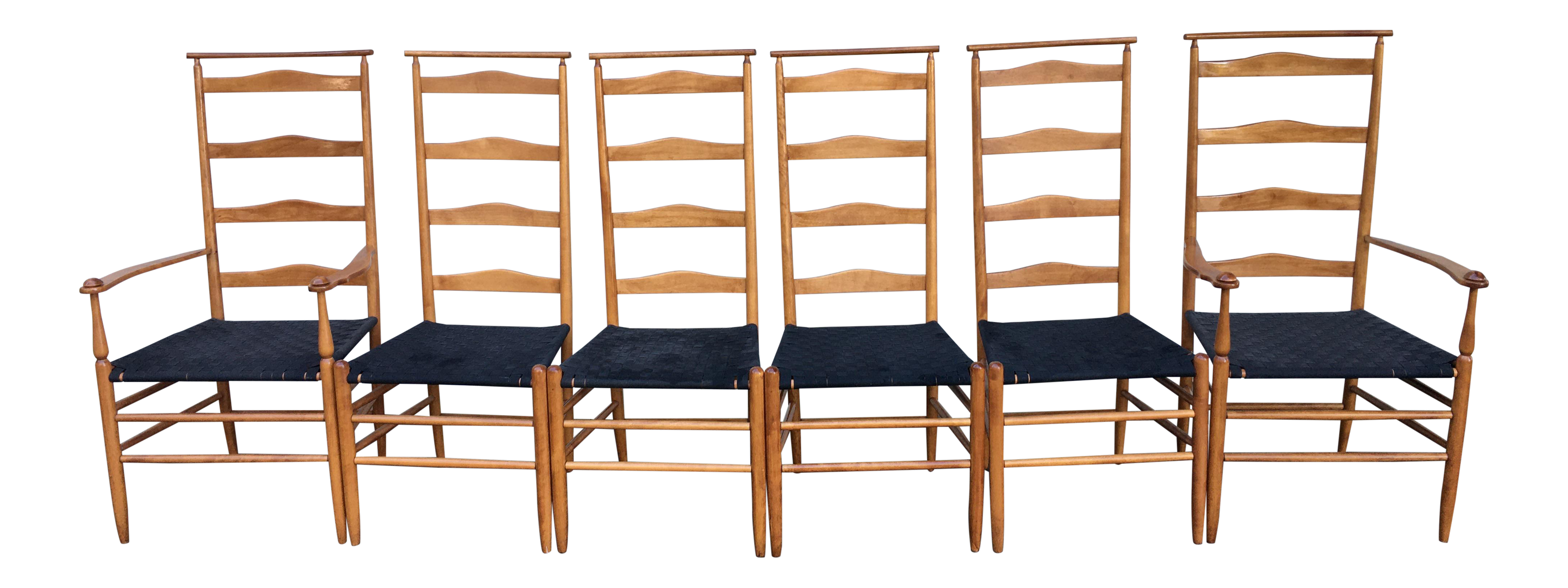 1960s Vintage Nichols And Stone Tall Ladder Back Chairs Set Of 6 Chairish