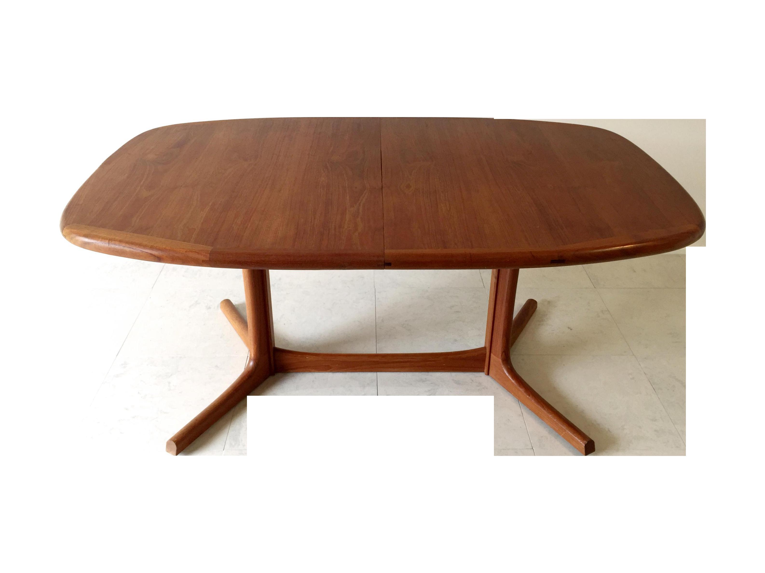 Vintage Danish Dyrlund Teak Dining Table Chairish - Teak oval extending table