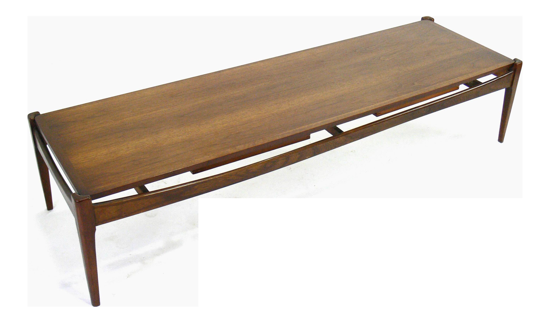 Mid Century Modern Bassett Surfboard Coffee Table With Sliding