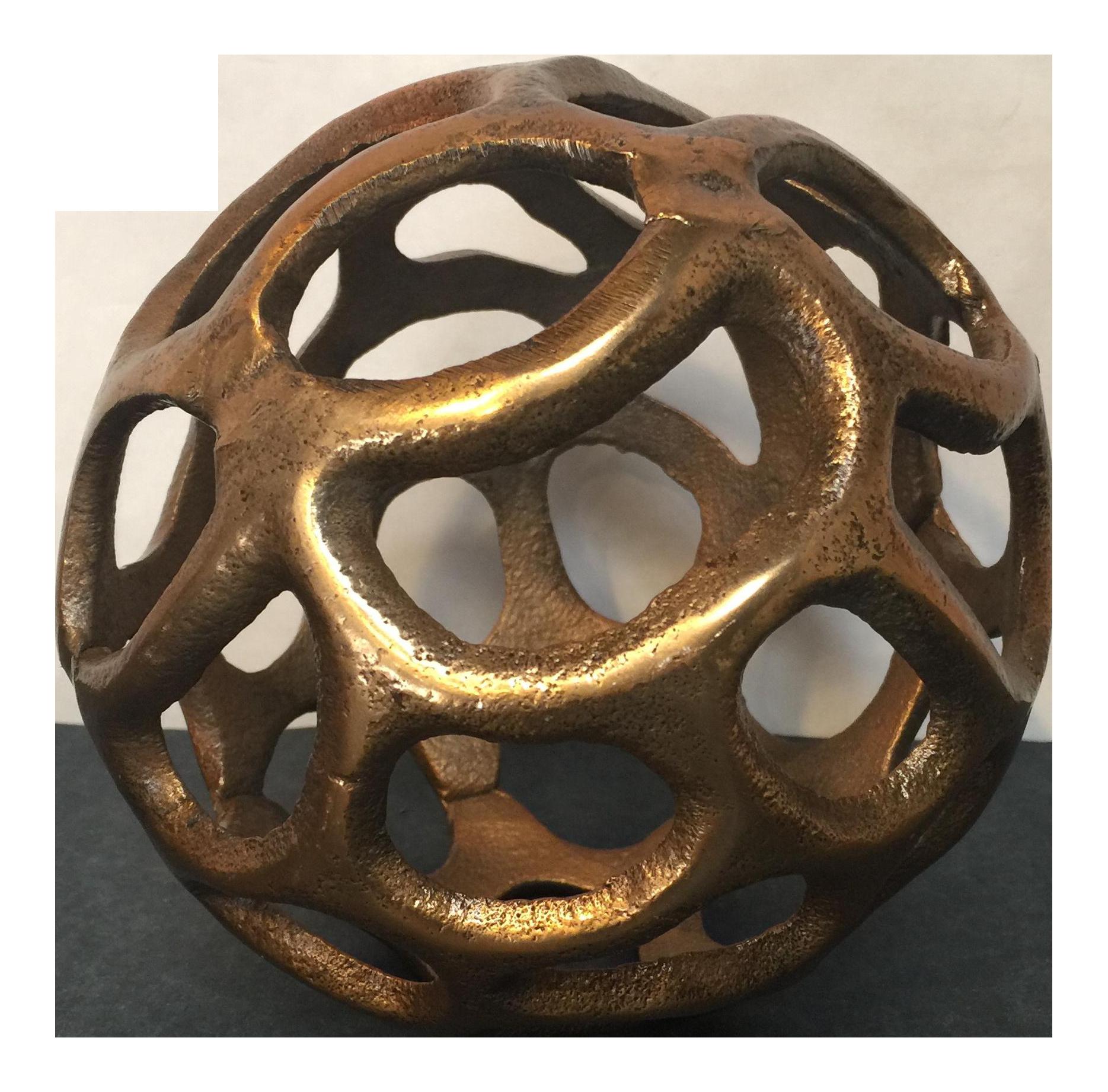 Round Gold Metal Orb | Chairish