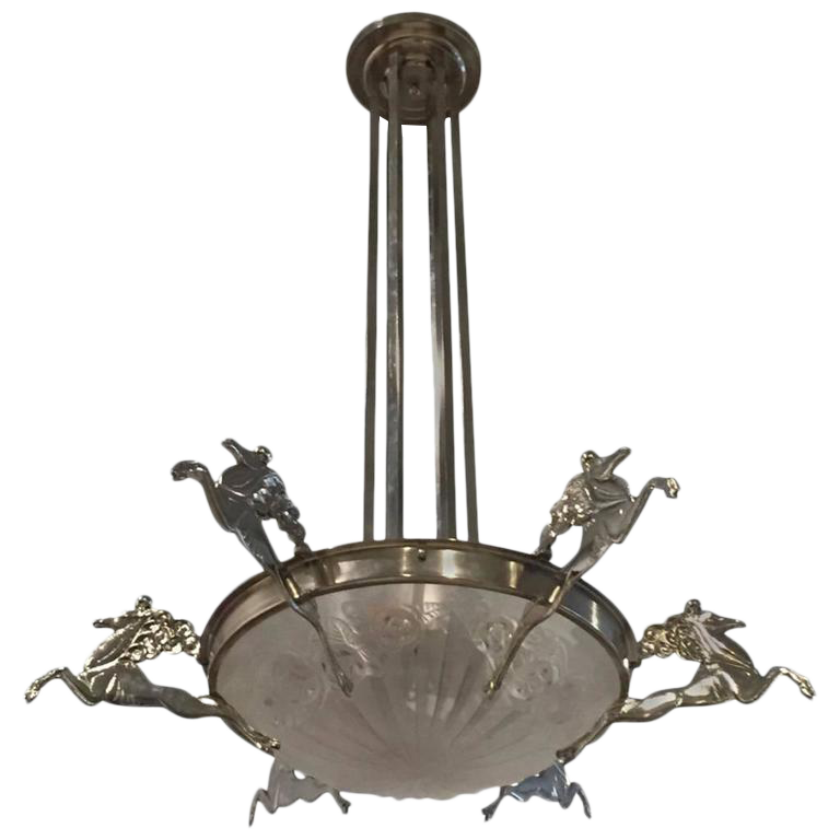 Exceptional degue signed french art deco chandelier with mythical exceptional degue signed french art deco chandelier with mythical horses decaso aloadofball