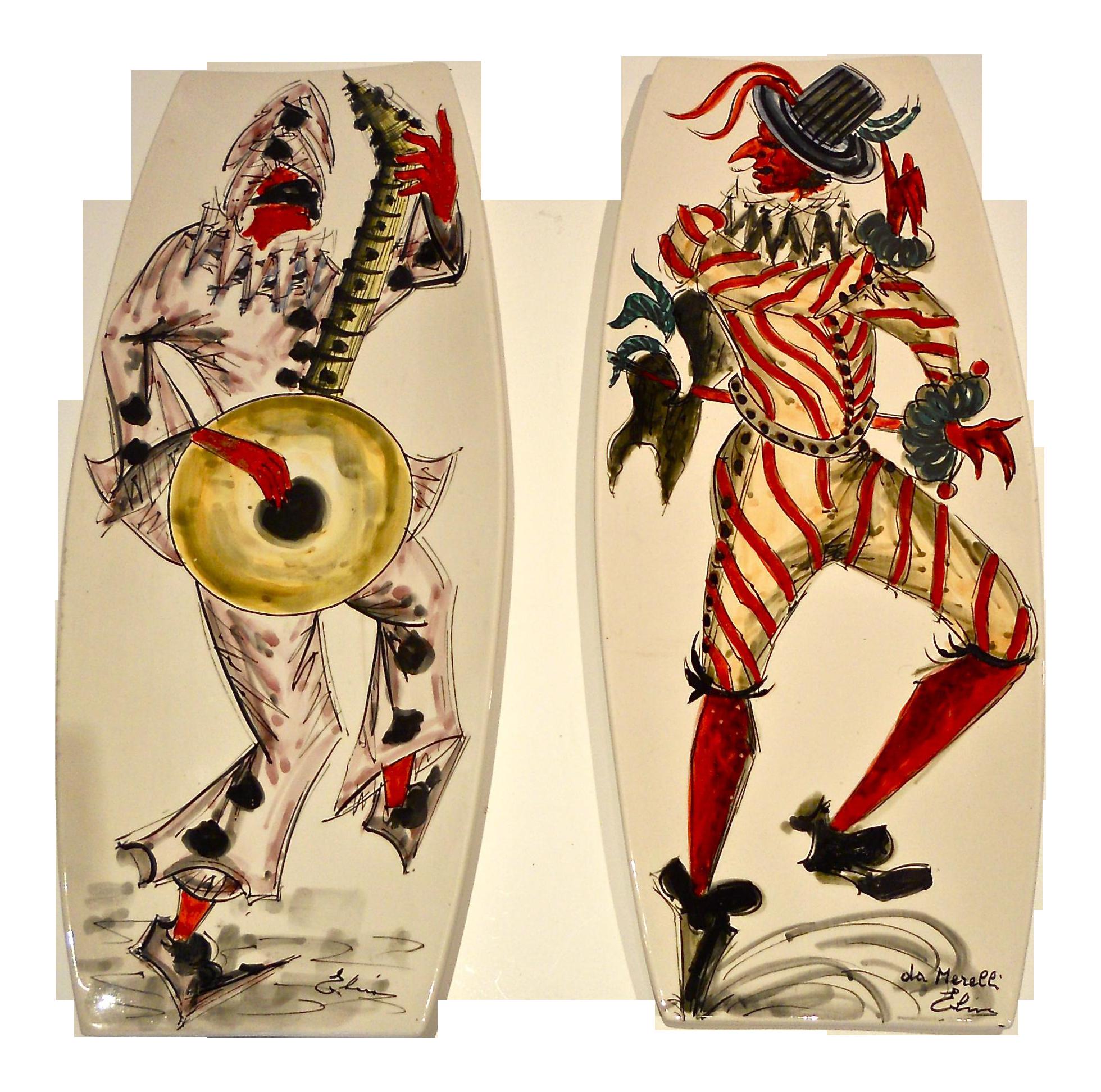 Vintage Venetian Carnivale Hanging Plates A Pair Chairish