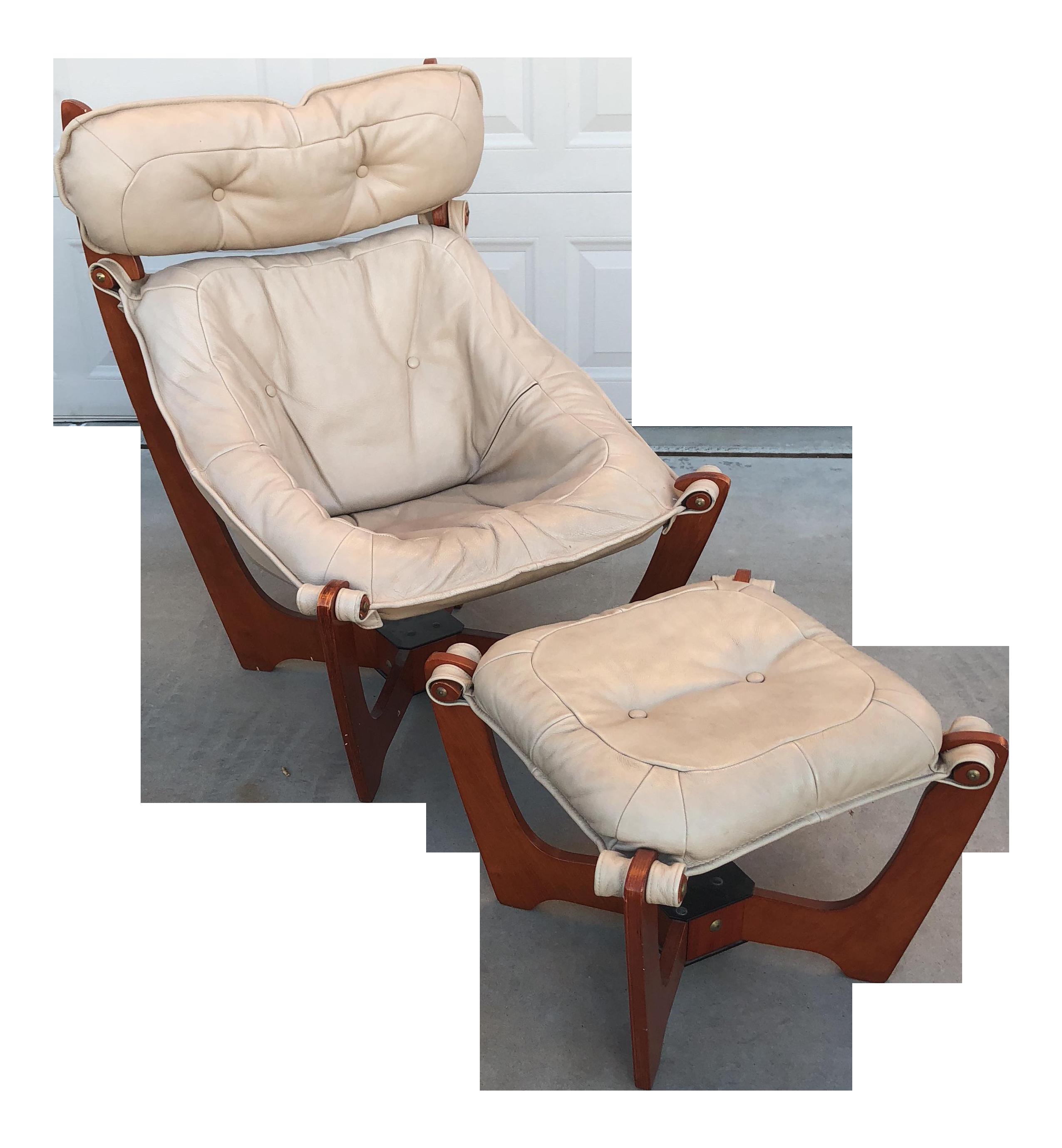 Awe Inspiring Luna Leather Sling Chair With Ottoman A Pair Spiritservingveterans Wood Chair Design Ideas Spiritservingveteransorg