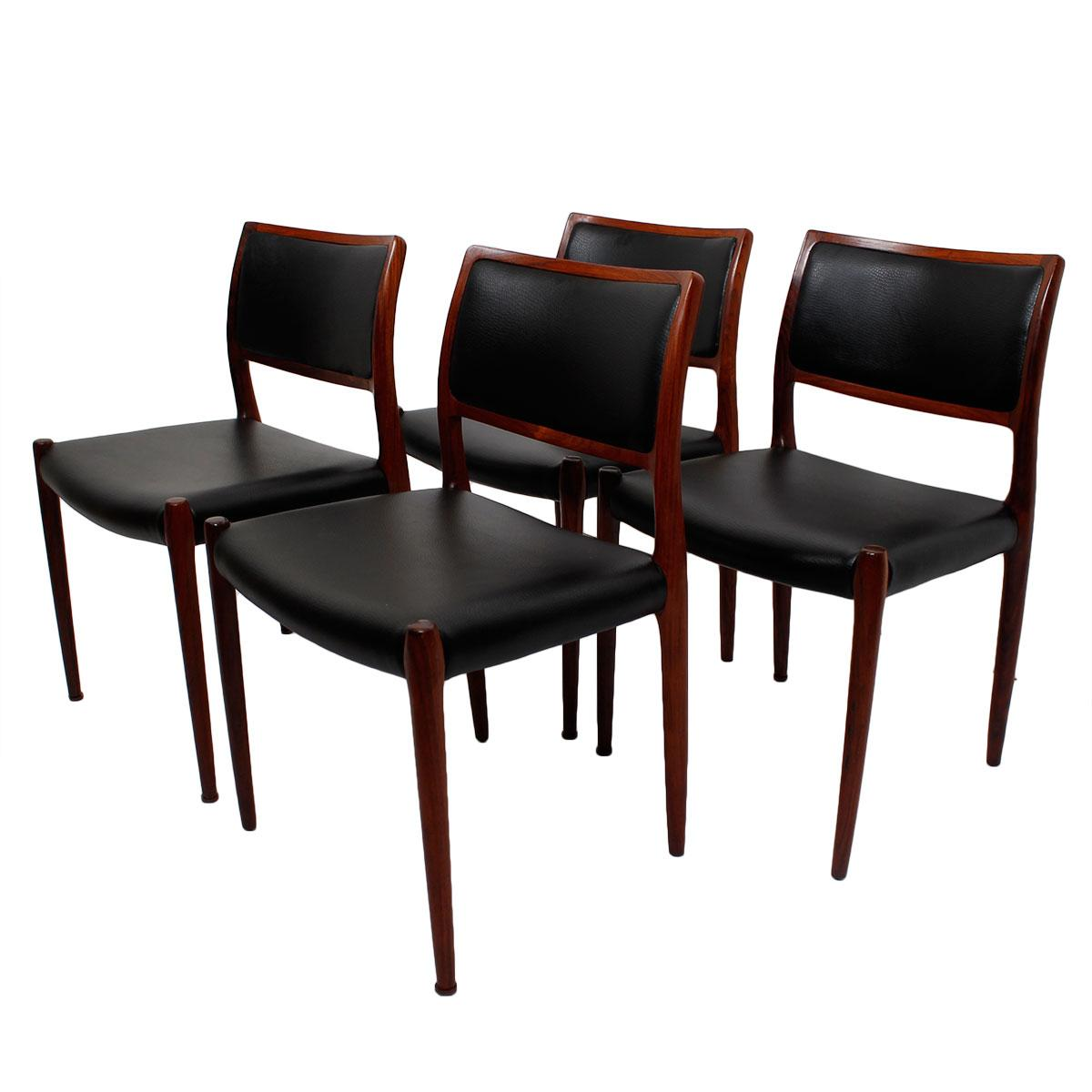 Rosewood Niels Moller #80 Dining Chairs   Set Of 4
