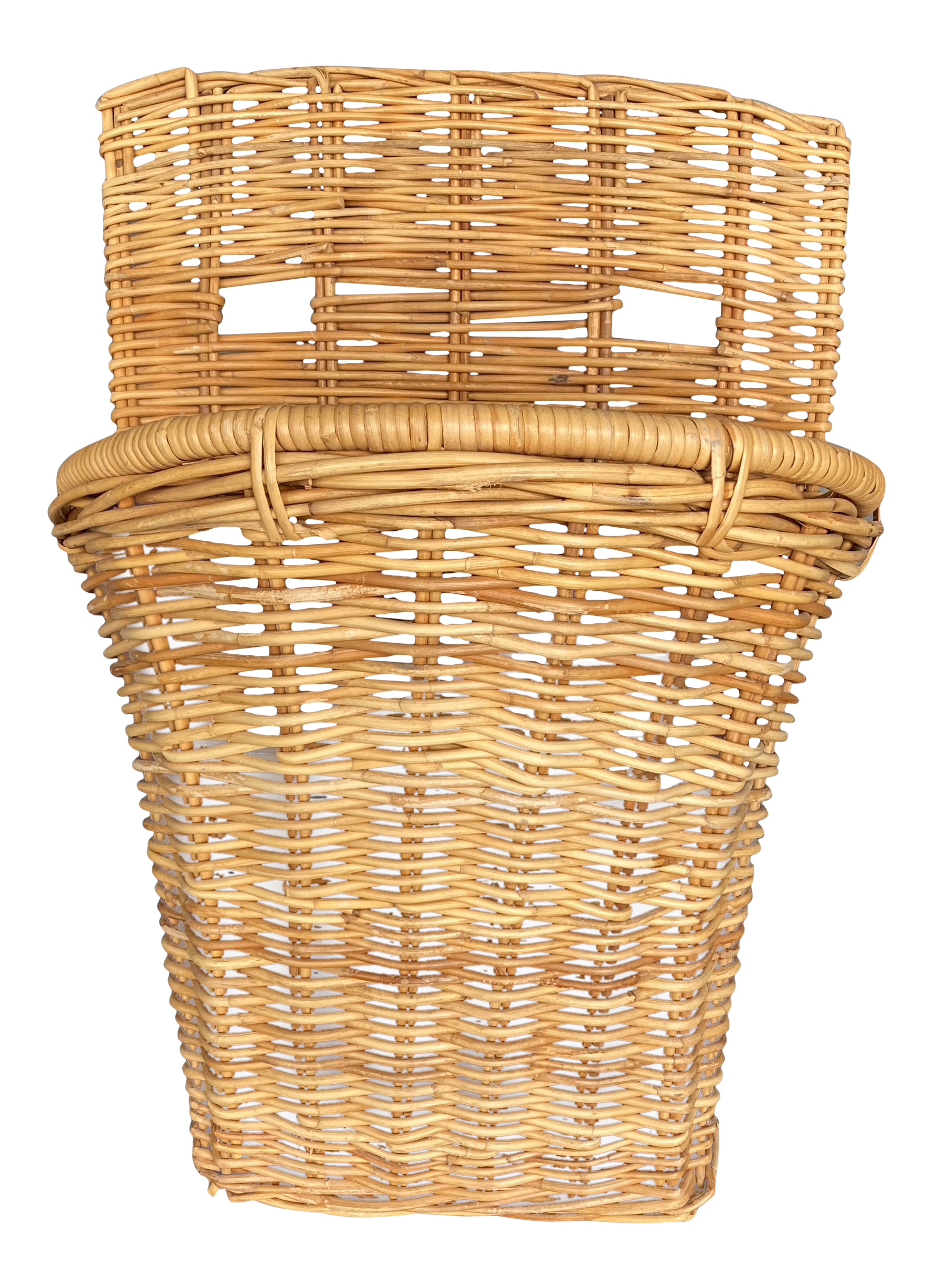 Extra Large Vintage French Wicker Rattan Wall Basket Chairish