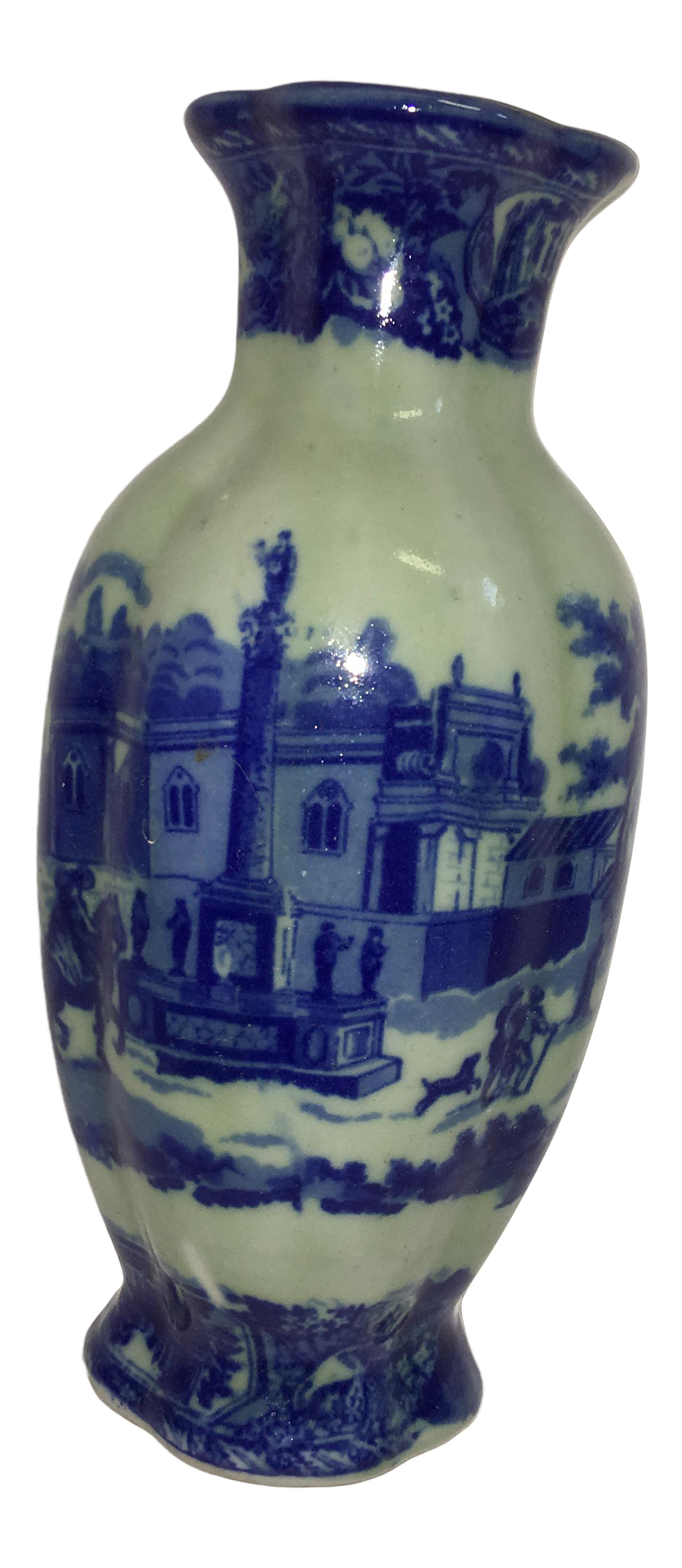 Blue white european scene ceramic wall pocket vase chairish reviewsmspy