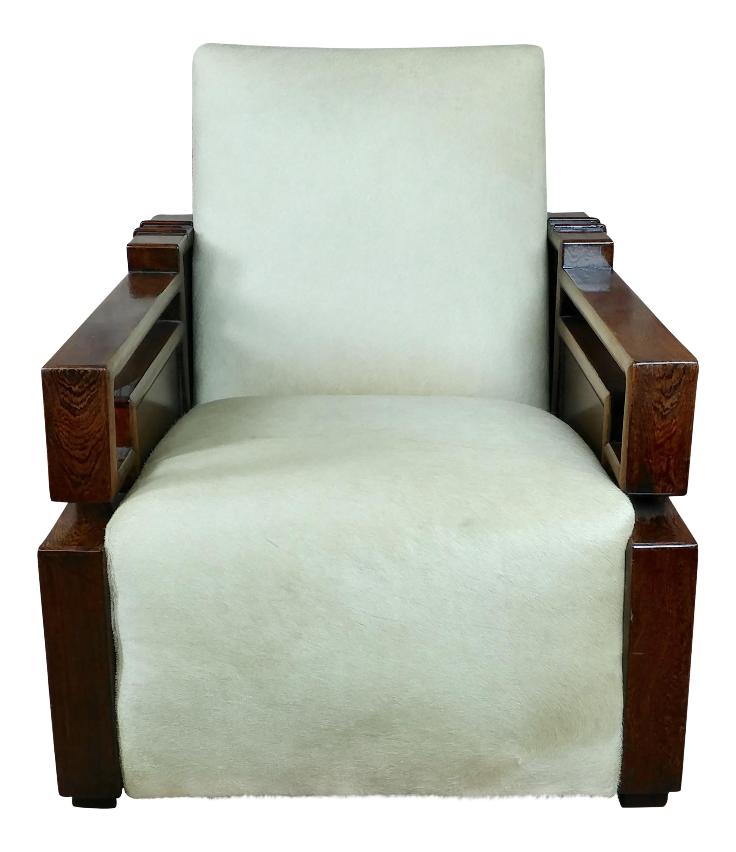 Beautiful Art Deco Oak Club Chair W White Cowhide Seat Fabulous Solid Oak Club Chair With Off White Cowhide Seat