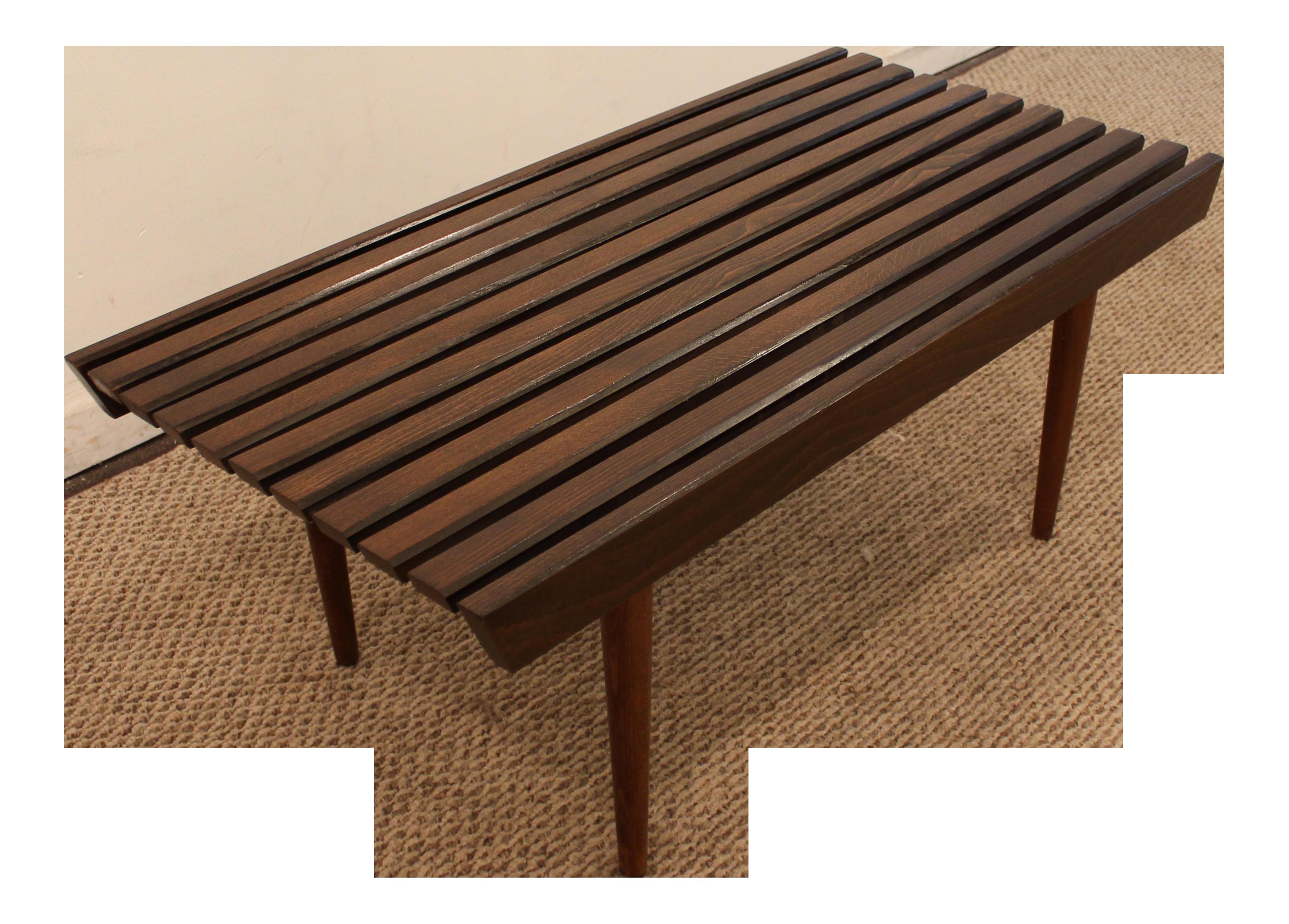 Mid Century Walnut Slat Bench Coffee Table