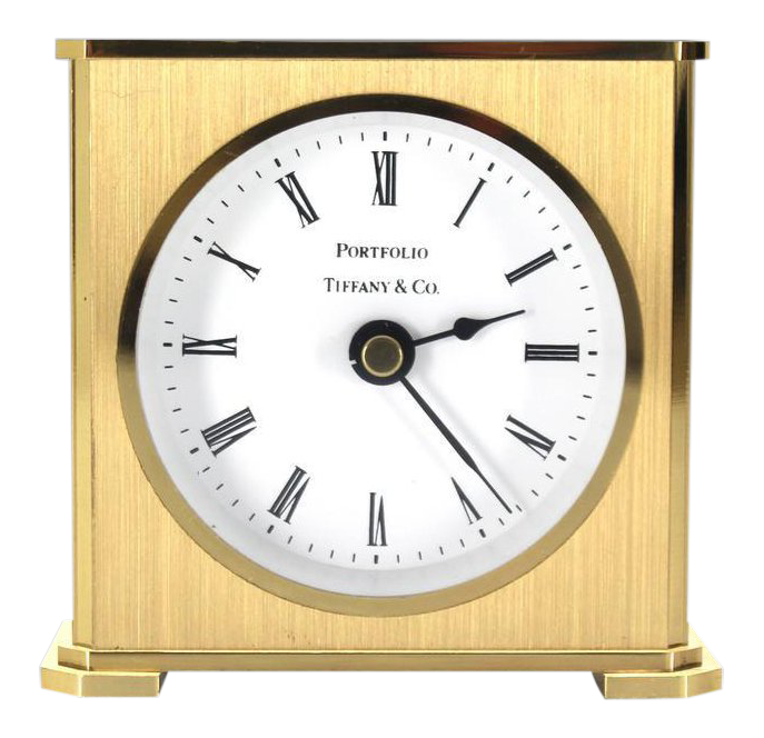 Early 20th Century Vintage Brass Case Tiffany Desk Clock