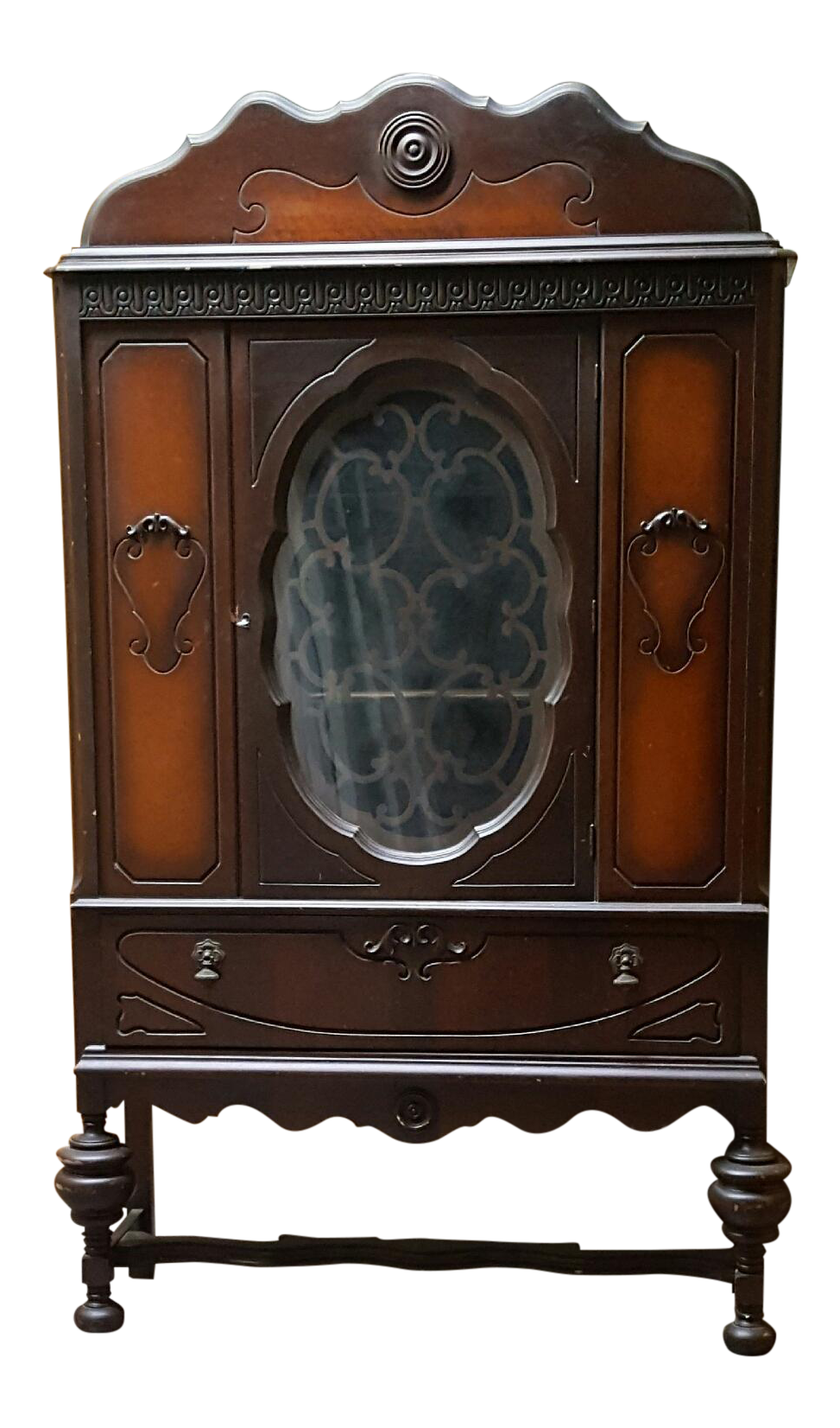 Antique Art Deco Waterfall Armoire - Vintage Waterfall Hutch China Cabinet  | Chairish - Antique Art Deco Waterfall Armoire - Vintage Waterfall Hutch China