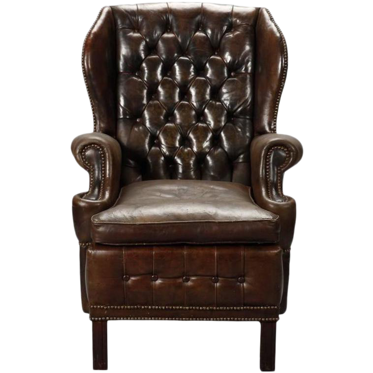 Magnificent English Brown Leather Tufted Library Wing Chair Spiritservingveterans Wood Chair Design Ideas Spiritservingveteransorg